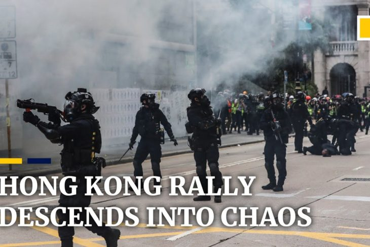 Tear gas and arrests as Hong Kong rally for universal suffrage descends into chaos – YouTube