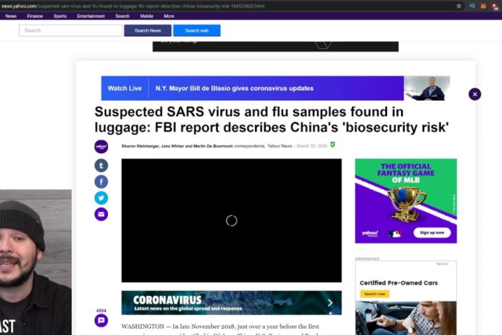 Chinese Biologist CAUGHT Transporting SARS Virus, Expert Fears It Could Be Bioterror related