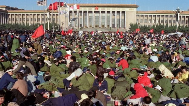 Student hunger strikers in Tiananmen Square on 14 May 1989