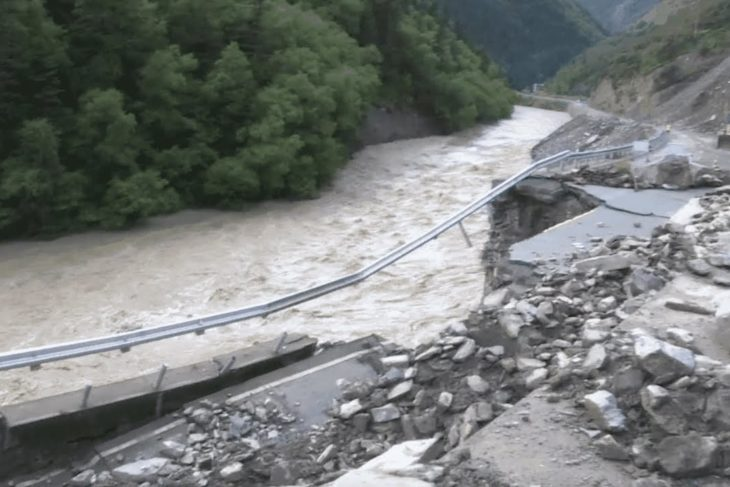 Massive flooding causes section of highway in SW China to collapse